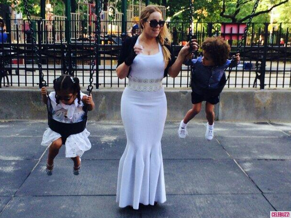 MARIAH CAREY WEARS A GOWN TO THE PLAYGROUND | In the Mixx